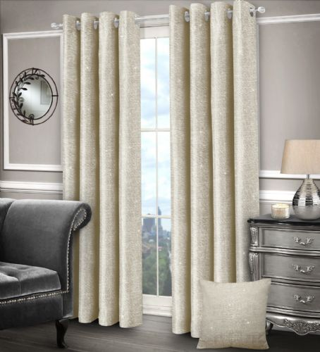 CREAM GLAM SPARKLE DESIGN LINED RINGTOP EYELET STYLISH SHIMMER LUXURY MODERN CURTAINS